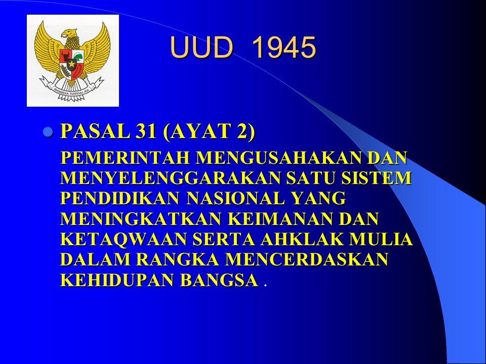 UUD 1945  PASAL 31 (AYAT 2) PEMERINTAH MENGUSAHAKAN DAN MENYELENGGARAKAN SATU SISTEM PENDIDIKAN NASIONAL YANG MENINGKATKAN KEIMANAN DAN KETAQWAAN SERTA AHKLAK MULIA DALAM RANGKA MENCERDASKAN KEHIDUPAN BANGSA PEMERINTAH MENGUSAHAKAN DAN MENYELENGGARAKAN SATU SISTEM PENDIDIKAN NASIONAL YANG MENINGKATKAN KEIMANAN DAN KETAQWAAN SERTA AHKLAK MULIA DALAM RANGKA MENCERDASKAN KEHIDUPAN BANGSA.