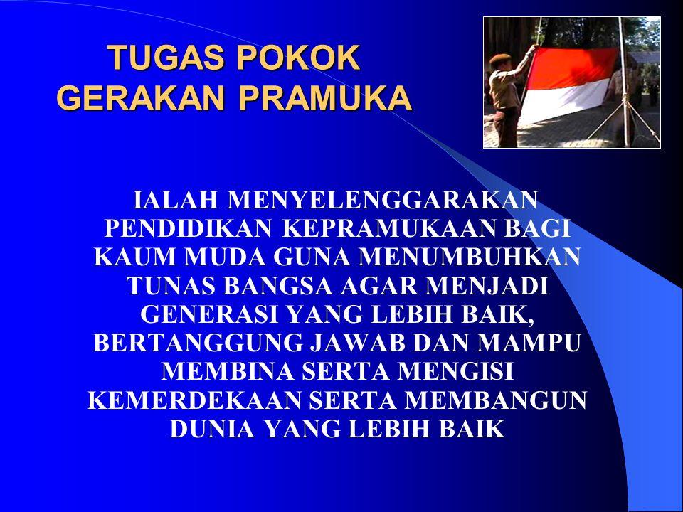 TUJUAN GERAKAN PRAMUKA Gerakan Pramuka mendidik dan membina kaum muda Indonesia guna mengembangkan mental, moral, spiritual, emosional, sosial, intelektual, dan fisiknya sehingga menjadi: a.