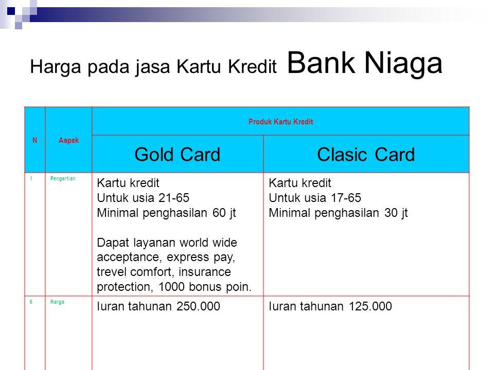 Harga pada jasa Kartu Kredit Bank Niaga NAspek Produk Kartu Kredit Gold CardClasic Card 1Pengertian Kartu kredit Untuk usia 21-65 Minimal penghasilan