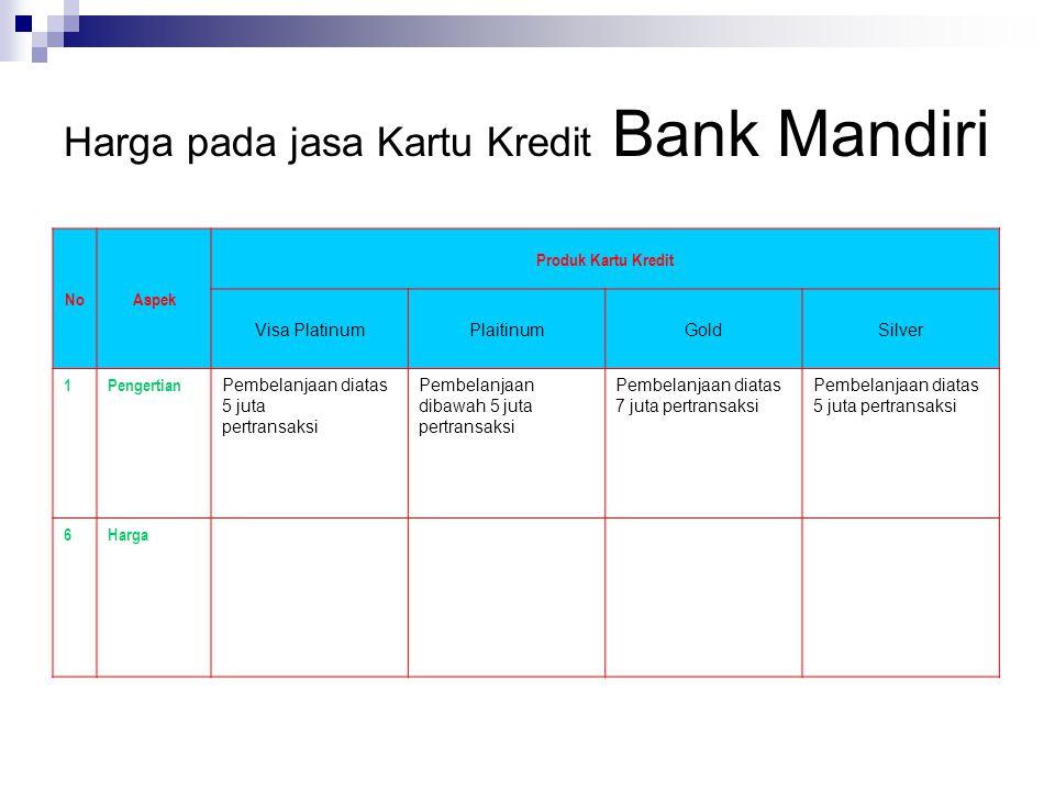 Harga pada jasa Kartu Kredit Bank Mandiri NoAspek Produk Kartu Kredit Visa PlatinumPlaitinumGoldSilver 1Pengertian Pembelanjaan diatas 5 juta pertrans