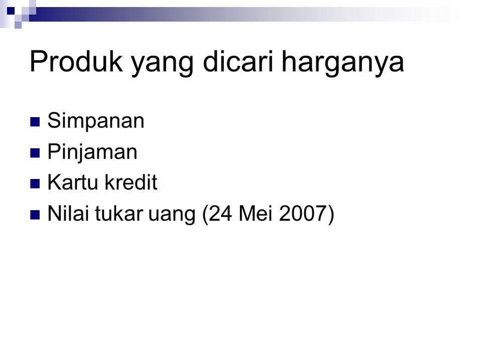 Produk yang dicari harganya  Simpanan  Pinjaman  Kartu kredit  Nilai tukar uang (24 Mei 2007)