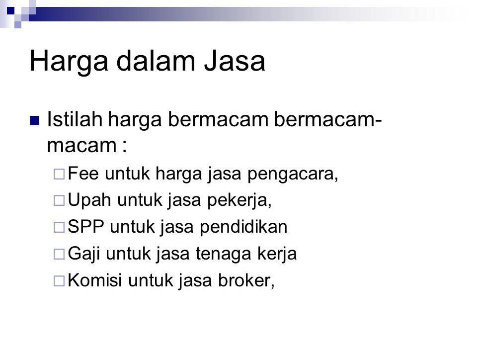 Harga dalam Jasa  Istilah harga bermacam bermacam- macam :  Fee untuk harga jasa pengacara,  Upah untuk jasa pekerja,  SPP untuk jasa pendidikan 