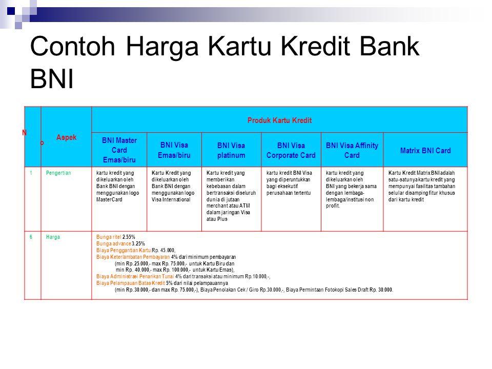 Contoh Harga Kartu Kredit Bank BNI NoNo Aspek Produk Kartu Kredit BNI Master Card Emas/biru BNI Visa Emas/biru BNI Visa platinum BNI Visa Corporate Ca