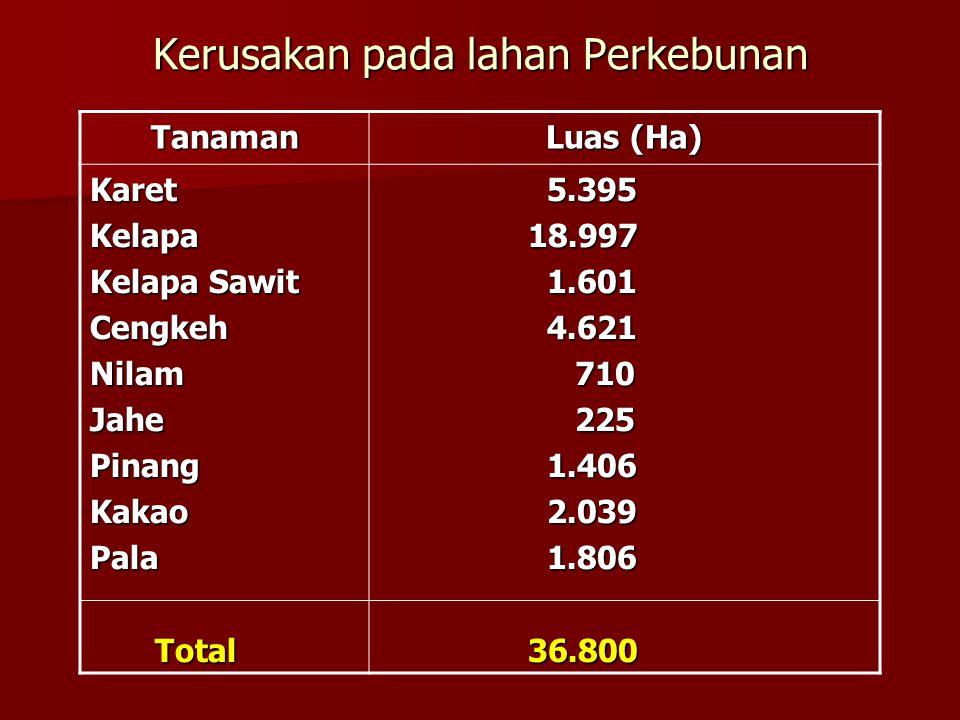 Kerusakan pada lahan Perkebunan Tanaman Luas (Ha) KaretKelapa Kelapa Sawit CengkehNilamJahePinangKakaoPala Total Total 5.395 5.395 18.997 18.997 1.601 1.601 4.621 4.621 710 710 225 225 1.406 1.406 2.039 2.039 1.806 1.806 36.800 36.800