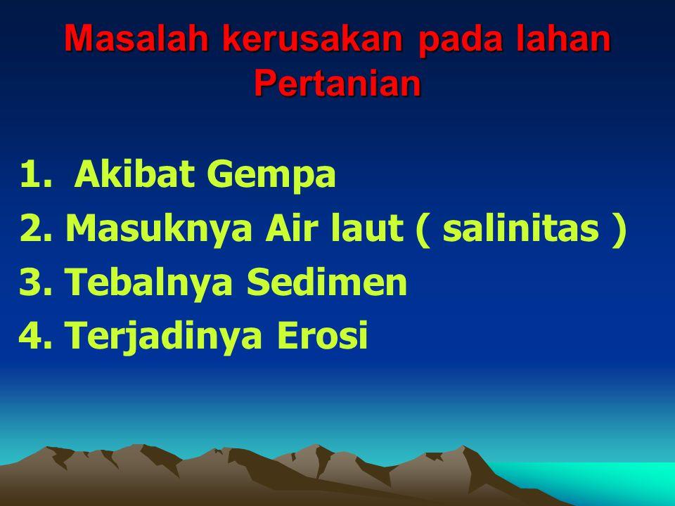 Masalah kerusakan pada lahan Pertanian 1. Akibat Gempa 2.