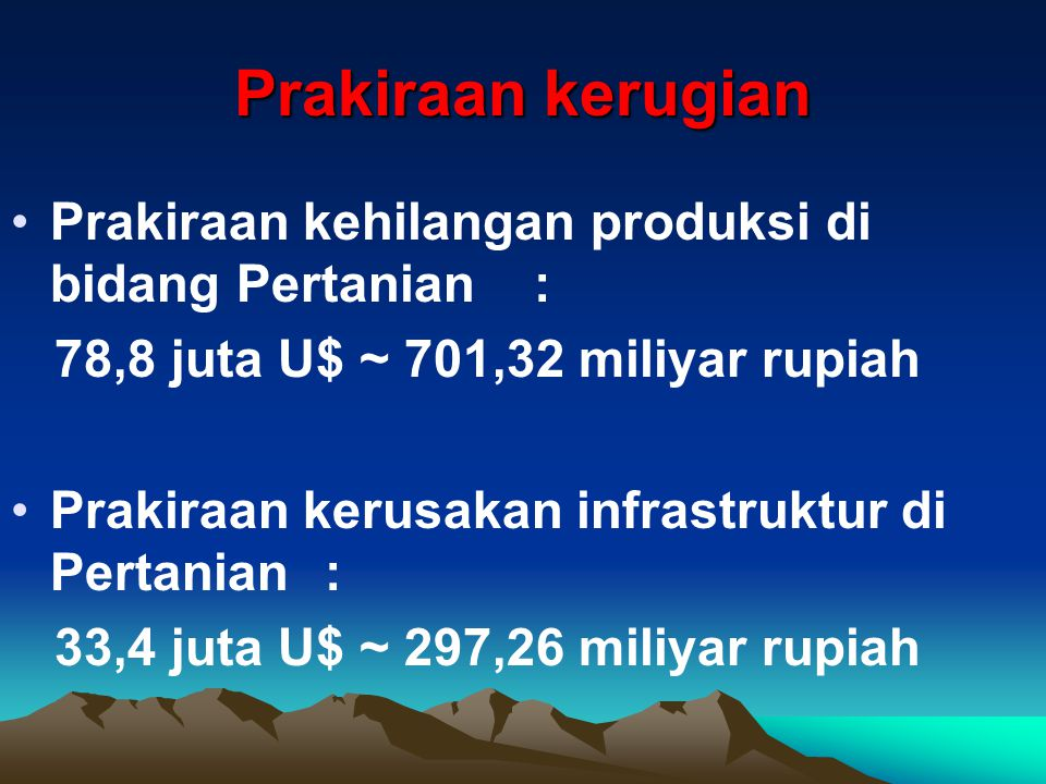 Prakiraan kerugian •Prakiraan kehilangan produksi di bidang Pertanian: 78,8 juta U$ ~ 701,32 miliyar rupiah •Prakiraan kerusakan infrastruktur di Pertanian: 33,4 juta U$ ~ 297,26 miliyar rupiah