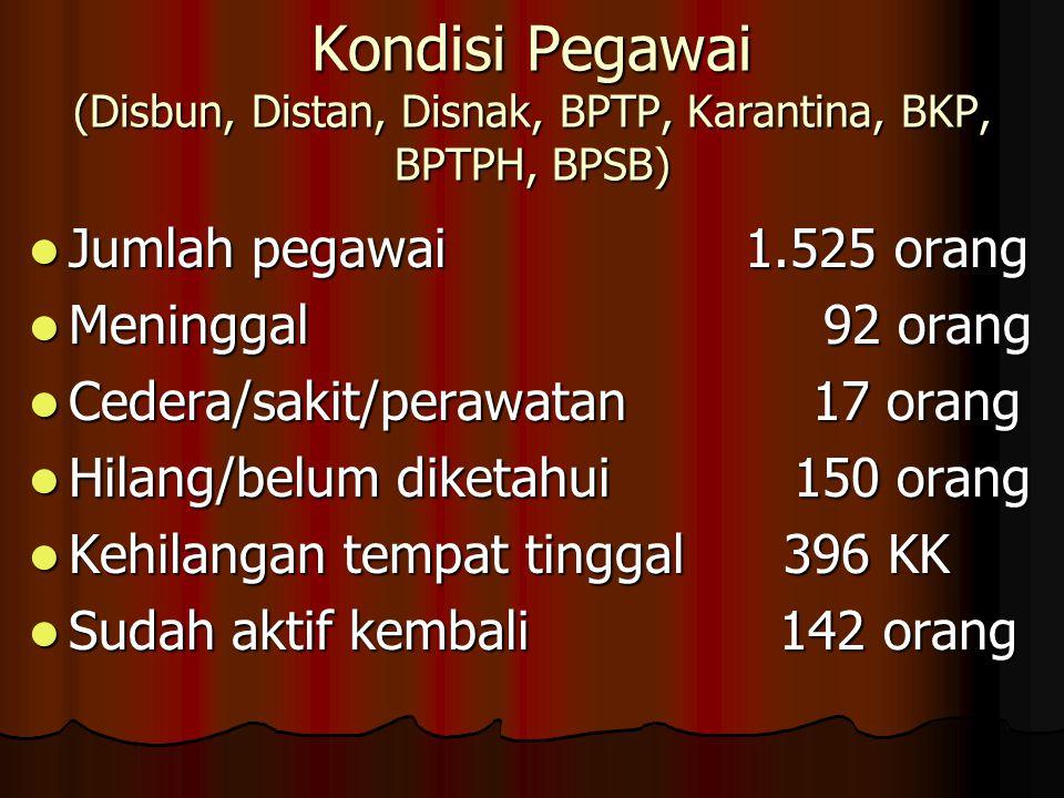 Kondisi Pegawai (Disbun, Distan, Disnak, BPTP, Karantina, BKP, BPTPH, BPSB)  Jumlah pegawai 1.525 orang  Meninggal 92 orang  Cedera/sakit/perawatan 17 orang  Hilang/belum diketahui 150 orang  Kehilangan tempat tinggal 396 KK  Sudah aktif kembali 142 orang