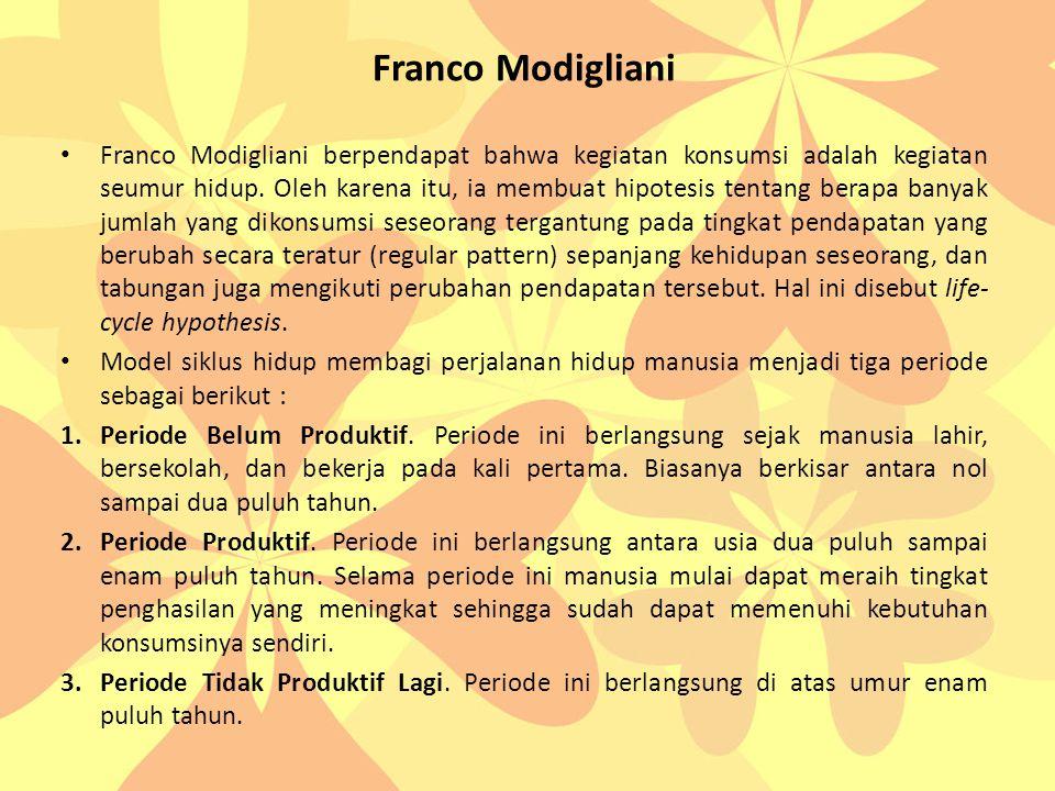 Franco Modigliani • Franco Modigliani berpendapat bahwa kegiatan konsumsi adalah kegiatan seumur hidup.