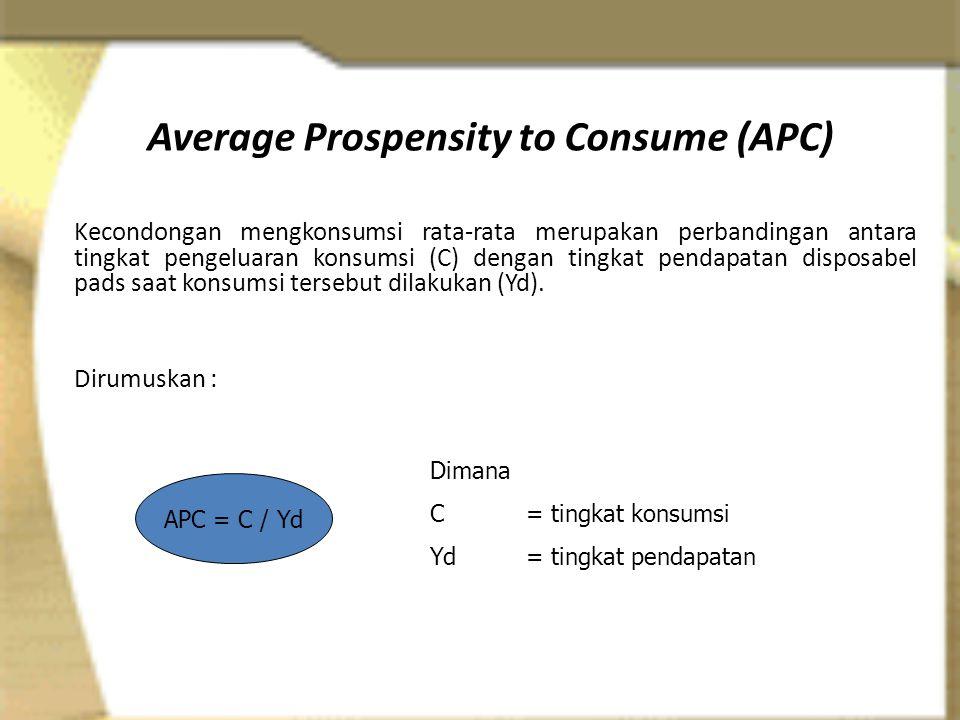 Average Prospensity to Consume (APC) Kecondongan mengkonsumsi rata-rata merupakan perbandingan antara tingkat pengeluaran konsumsi (C) dengan tingkat pendapatan disposabel pads saat konsumsi tersebut dilakukan (Yd).