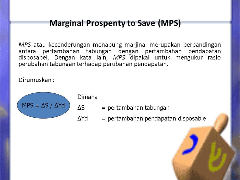 Marginal Prospenty to Save (MPS) MPS atau kecenderungan menabung marjinal merupakan perbandingan antara pertambahan tabungan dengan pertambahan pendapatan disposabel.