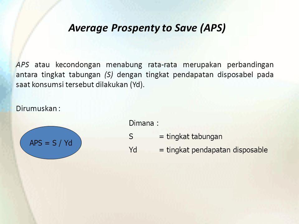 Average Prospenty to Save (APS) APS atau kecondongan menabung rata-rata merupakan perbandingan antara tingkat tabungan (S) dengan tingkat pendapatan disposabel pada saat konsumsi tersebut dilakukan (Yd).