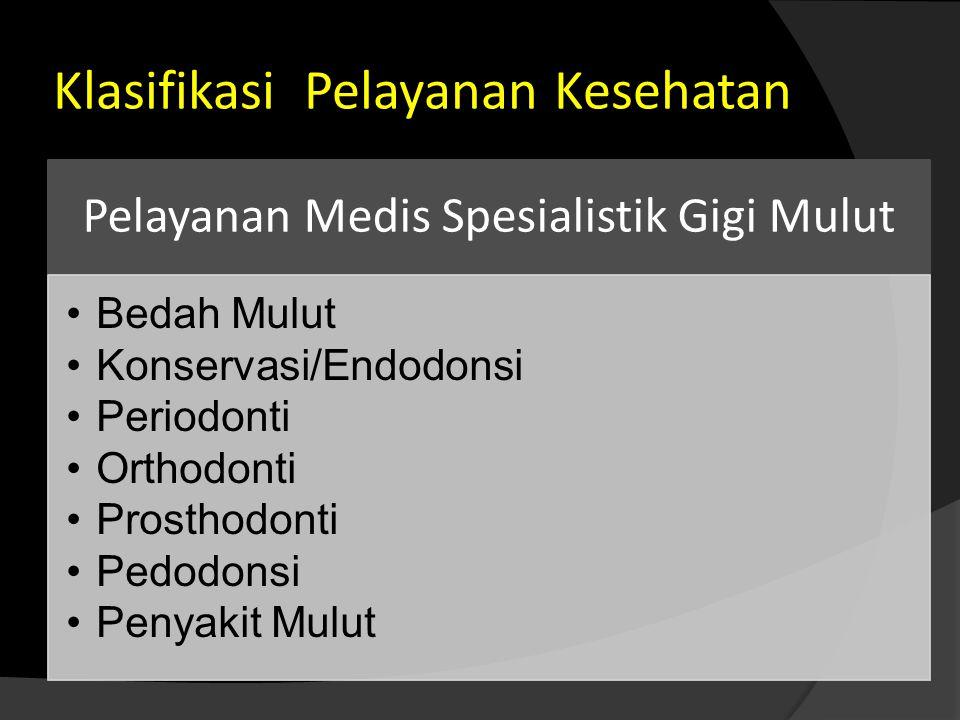 Klasifikasi Pelayanan Kesehatan Pelayanan Medis Spesialistik Gigi Mulut •Bedah Mulut •Konservasi/Endodonsi •Periodonti •Orthodonti •Prosthodonti •Pedo