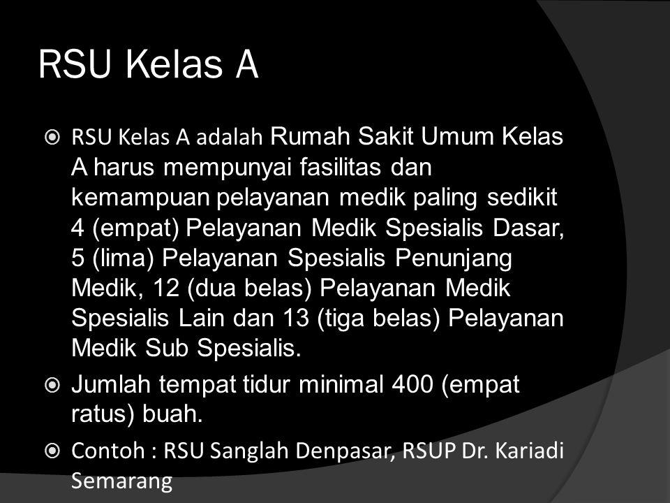RSU Kelas A  RSU Kelas A adalah Rumah Sakit Umum Kelas A harus mempunyai fasilitas dan kemampuan pelayanan medik paling sedikit 4 (empat) Pelayanan M