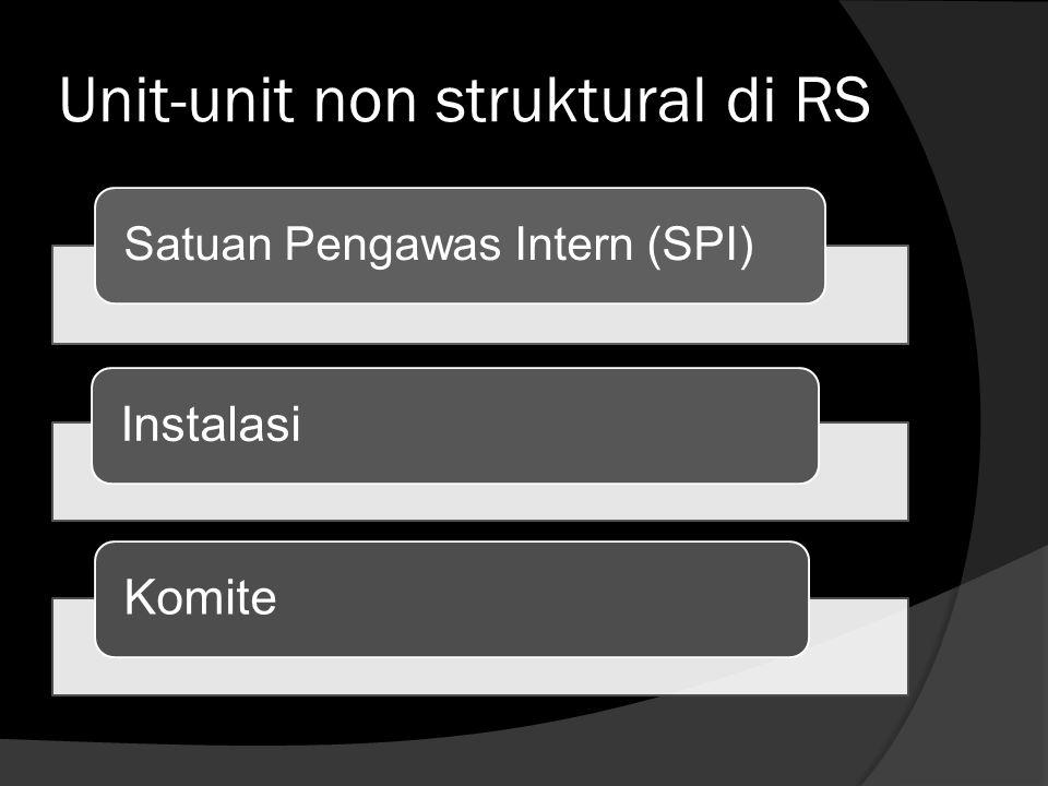 Unit-unit non struktural di RS Satuan Pengawas Intern (SPI) InstalasiKomite