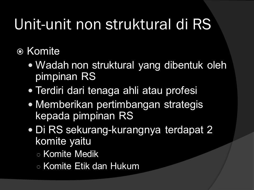 Unit-unit non struktural di RS  Komite  Wadah non struktural yang dibentuk oleh pimpinan RS  Terdiri dari tenaga ahli atau profesi  Memberikan per
