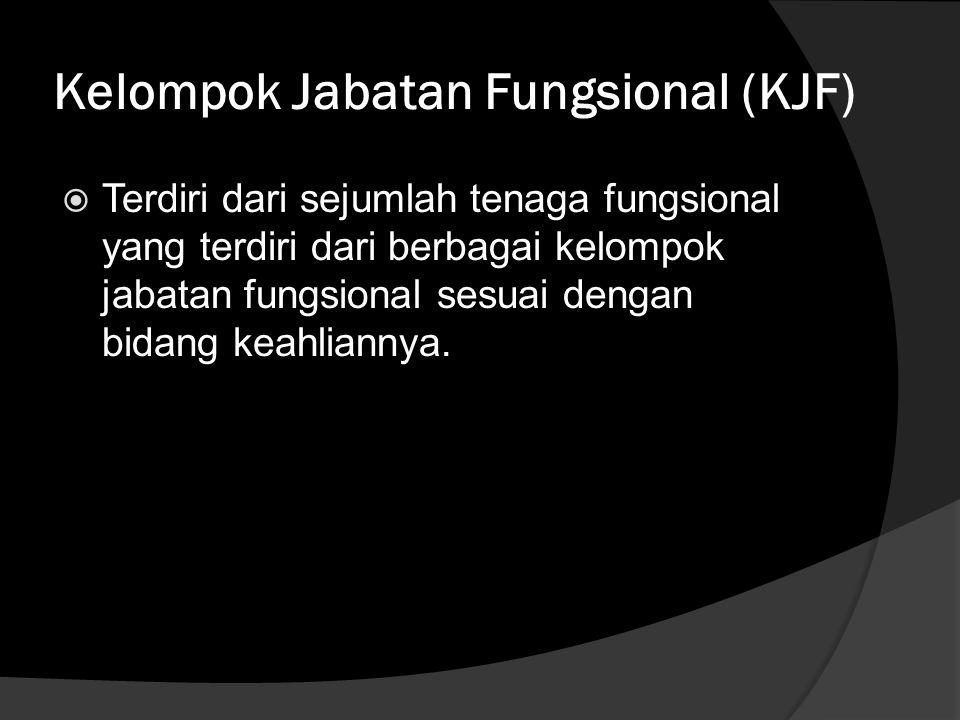 Kelompok Jabatan Fungsional (KJF)  Terdiri dari sejumlah tenaga fungsional yang terdiri dari berbagai kelompok jabatan fungsional sesuai dengan bidan