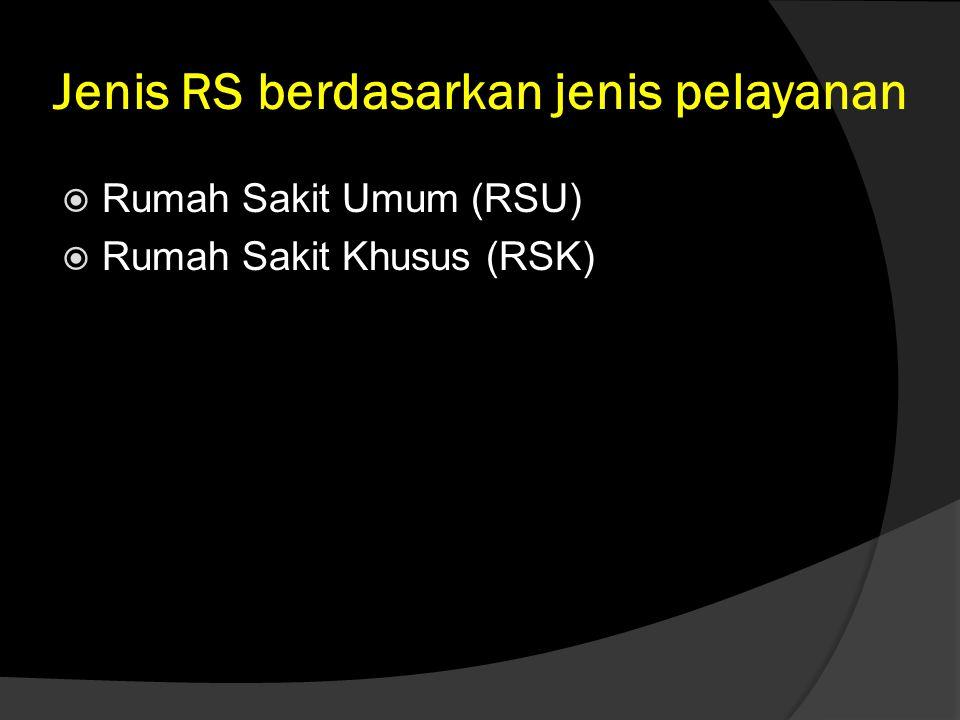 Jenis RS berdasarkan jenis pelayanan  Rumah Sakit Umum (RSU)  Rumah Sakit Khusus (RSK)