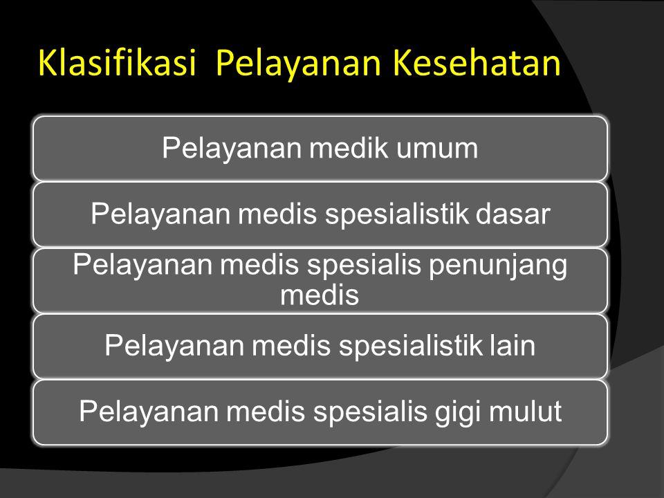Klasifikasi Pelayanan Kesehatan Pelayanan medik umumPelayanan medis spesialistik dasar Pelayanan medis spesialis penunjang medis Pelayanan medis spesi