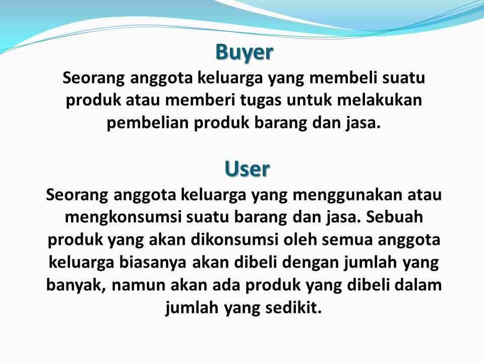 Buyer User Buyer Seorang anggota keluarga yang membeli suatu produk atau memberi tugas untuk melakukan pembelian produk barang dan jasa.