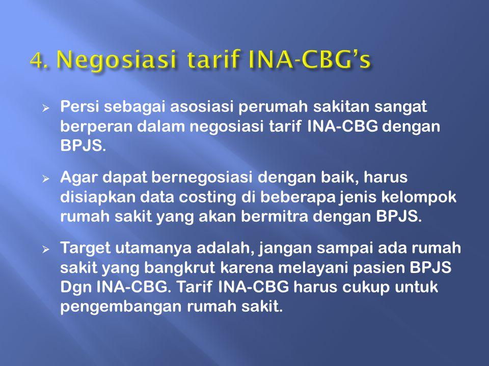  Persi sebagai asosiasi perumah sakitan sangat berperan dalam negosiasi tarif INA-CBG dengan BPJS.
