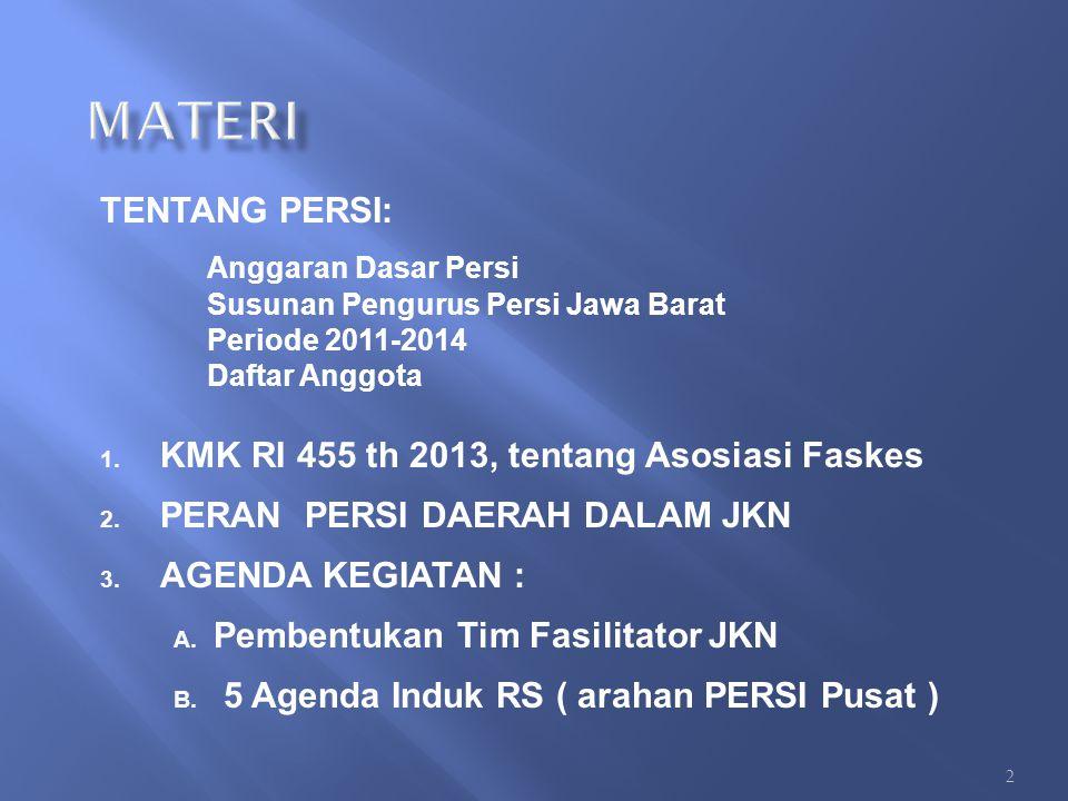 TENTANG PERSI: Anggaran Dasar Persi Susunan Pengurus Persi Jawa Barat Periode 2011-2014 Daftar Anggota 1. KMK RI 455 th 2013, tentang Asosiasi Faskes