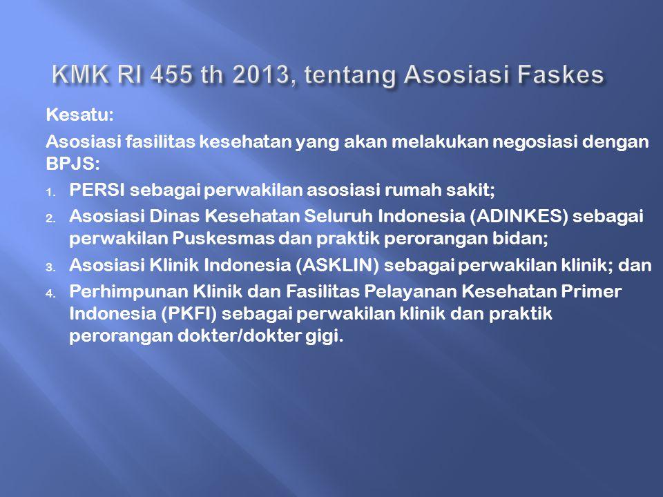 Kesatu: Asosiasi fasilitas kesehatan yang akan melakukan negosiasi dengan BPJS: 1.