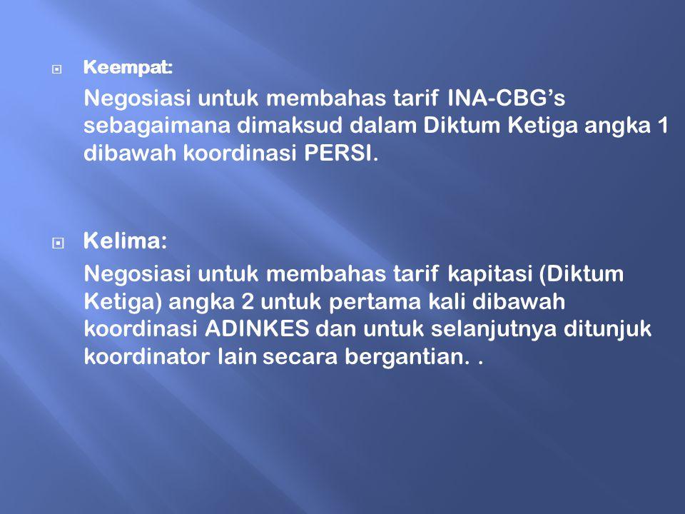  Keempat: Negosiasi untuk membahas tarif INA-CBG's sebagaimana dimaksud dalam Diktum Ketiga angka 1 dibawah koordinasi PERSI.  Kelima: Negosiasi unt
