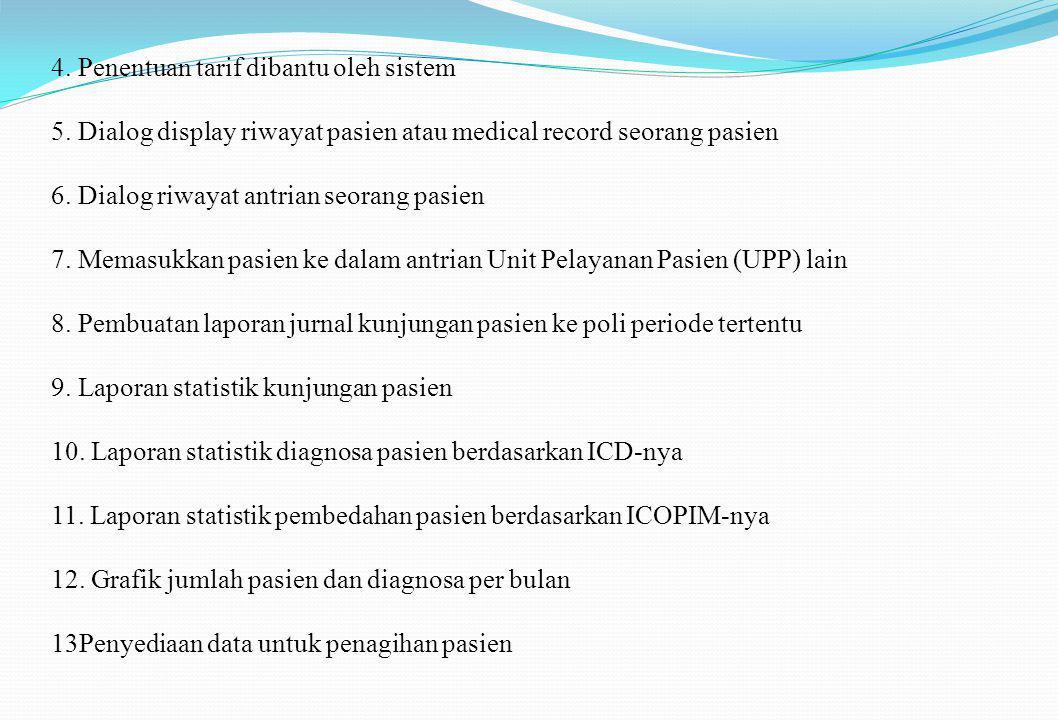 4. Penentuan tarif dibantu oleh sistem 5. Dialog display riwayat pasien atau medical record seorang pasien 6. Dialog riwayat antrian seorang pasien 7.