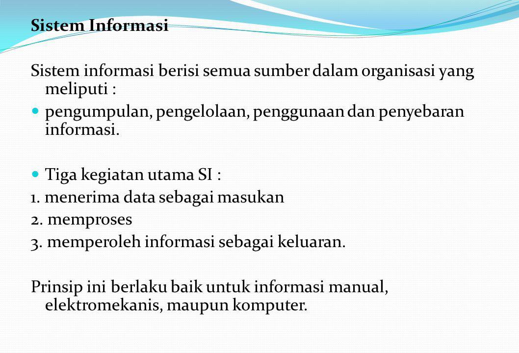 Sistem Informasi Sistem informasi berisi semua sumber dalam organisasi yang meliputi :  pengumpulan, pengelolaan, penggunaan dan penyebaran informasi