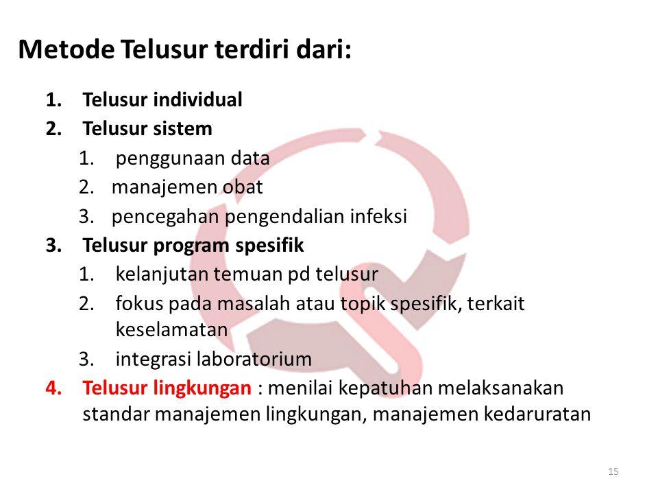 15 1.Telusur individual 2.Telusur sistem 1.penggunaan data 2.manajemen obat 3.pencegahan pengendalian infeksi 3.Telusur program spesifik 1.kelanjutan