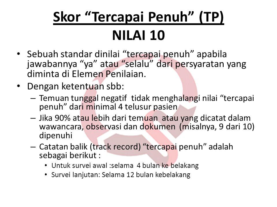 """Skor """"Tercapai Penuh"""" (TP) NILAI 10 • Sebuah standar dinilai """"tercapai penuh"""" apabila jawabannya """"ya"""" atau """"selalu"""" dari persyaratan yang diminta di E"""