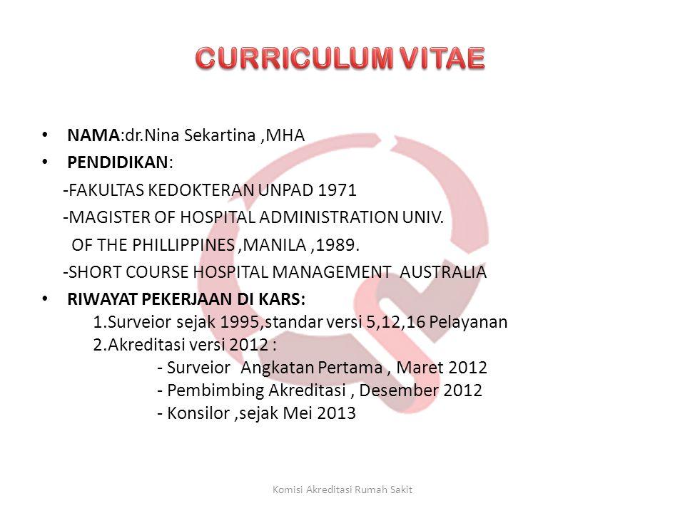 • NAMA:dr.Nina Sekartina,MHA • PENDIDIKAN: -FAKULTAS KEDOKTERAN UNPAD 1971 -MAGISTER OF HOSPITAL ADMINISTRATION UNIV. OF THE PHILLIPPINES,MANILA,1989.