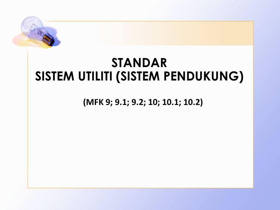 STANDAR SISTEM UTILITI (SISTEM PENDUKUNG) MFK 7; 7.1; 7.2; 7.3 (MFK 9; 9.1; 9.2; 10; 10.1; 10.2)
