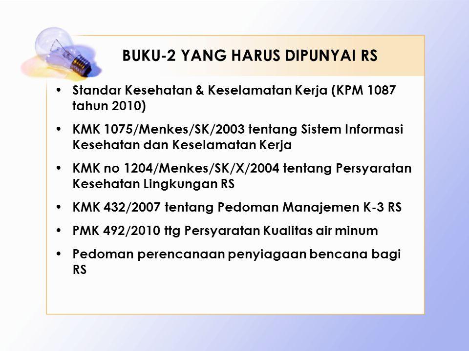BUKU-2 YANG HARUS DIPUNYAI RS • Standar Kesehatan & Keselamatan Kerja (KPM 1087 tahun 2010) • KMK 1075/Menkes/SK/2003 tentang Sistem Informasi Kesehat