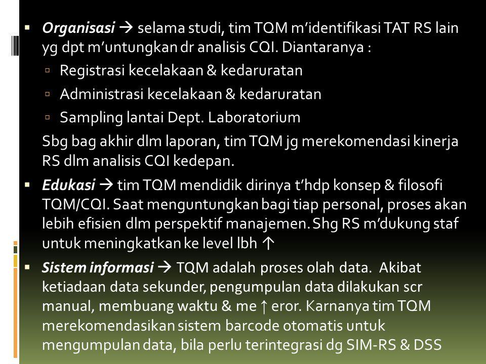  Organisasi  selama studi, tim TQM m'identifikasi TAT RS lain yg dpt m'untungkan dr analisis CQI. Diantaranya :  Registrasi kecelakaan & kedarurata