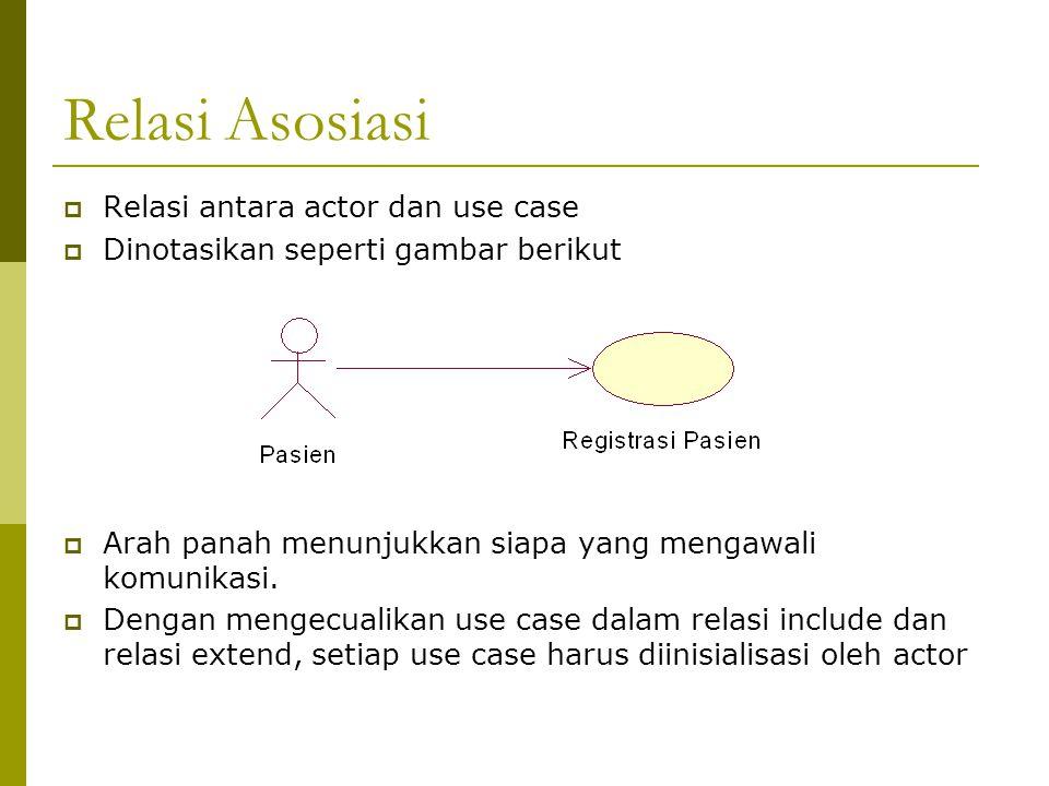 Relasi Asosiasi  Relasi antara actor dan use case  Dinotasikan seperti gambar berikut  Arah panah menunjukkan siapa yang mengawali komunikasi.  De