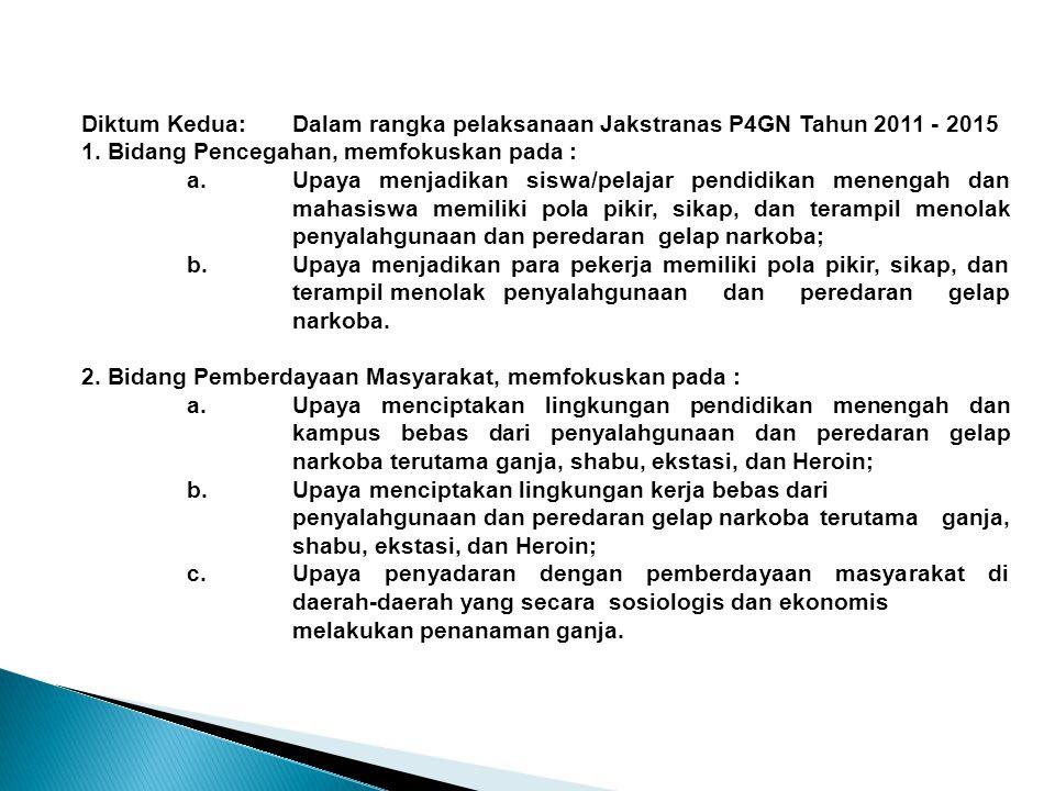Diktum Kedua:Dalam rangka pelaksanaan Jakstranas P4GN Tahun 2011 - 2015 1. Bidang Pencegahan, memfokuskan pada : a.Upaya menjadikan siswa/pelajar pend