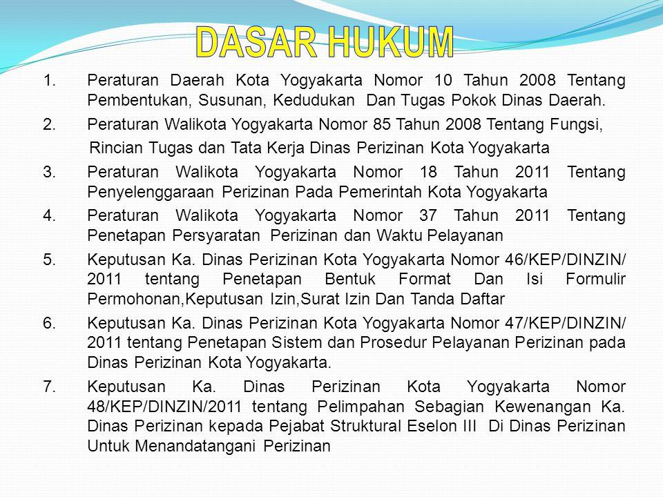 1.Peraturan Daerah Kota Yogyakarta Nomor 10 Tahun 2008 Tentang Pembentukan, Susunan, Kedudukan Dan Tugas Pokok Dinas Daerah.