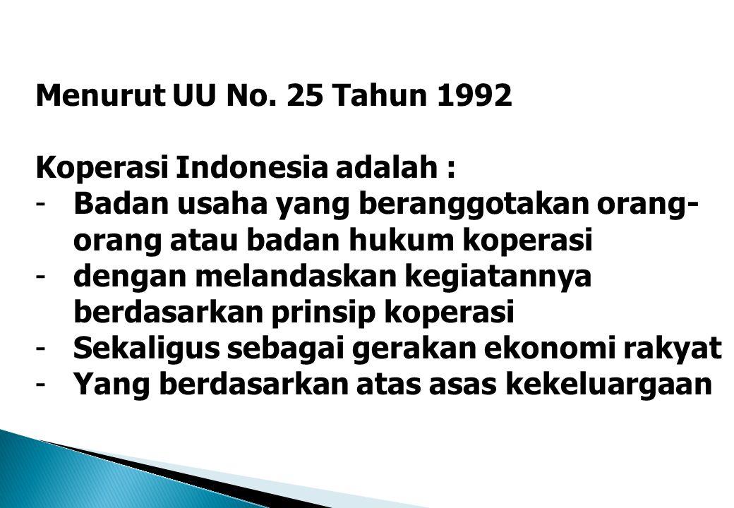 Menurut UU No. 25 Tahun 1992 Koperasi Indonesia adalah : -Badan usaha yang beranggotakan orang- orang atau badan hukum koperasi -dengan melandaskan ke