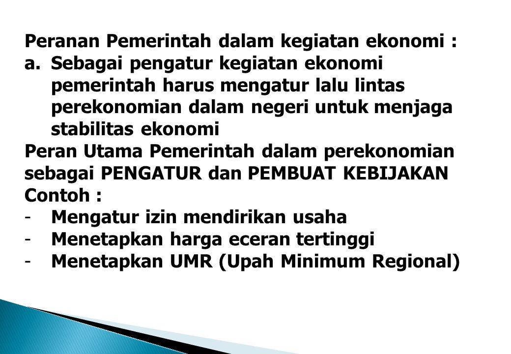 Peranan Pemerintah dalam kegiatan ekonomi : a.Sebagai pengatur kegiatan ekonomi pemerintah harus mengatur lalu lintas perekonomian dalam negeri untuk