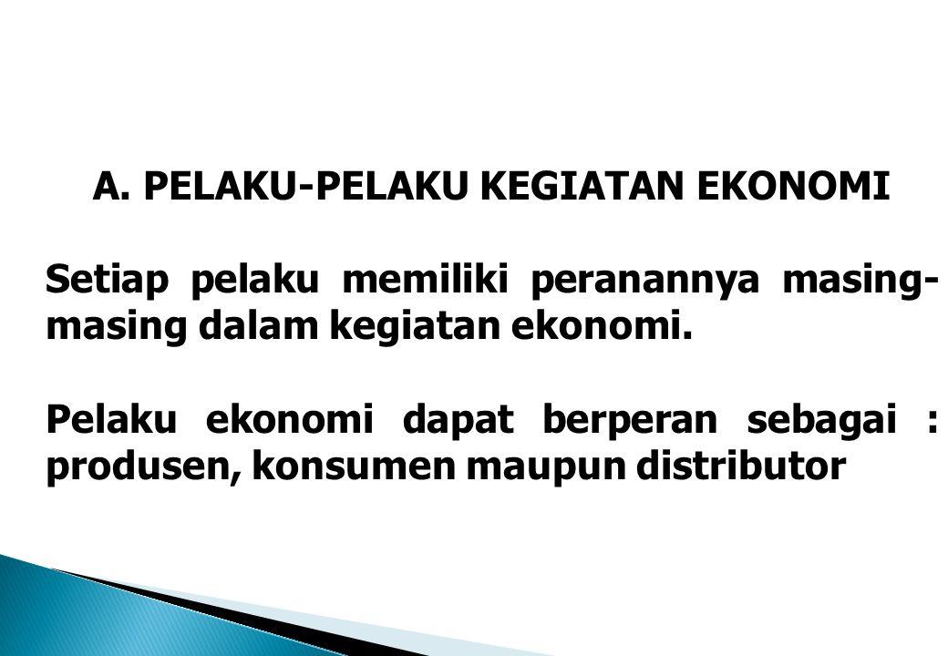 A. PELAKU-PELAKU KEGIATAN EKONOMI Setiap pelaku memiliki peranannya masing- masing dalam kegiatan ekonomi. Pelaku ekonomi dapat berperan sebagai : pro