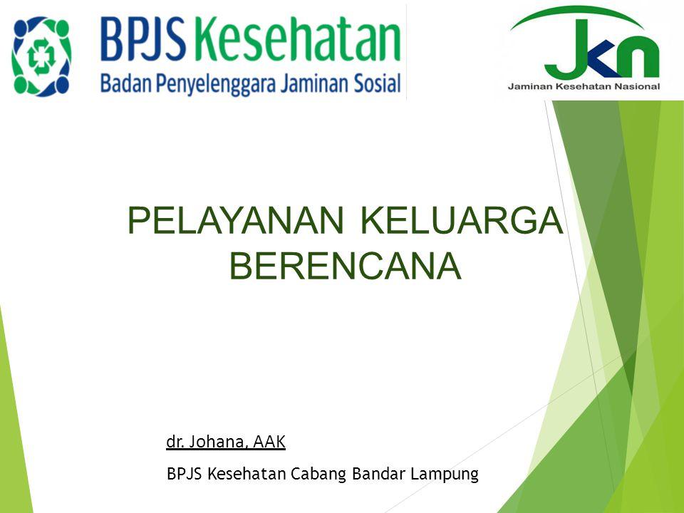 dr. Johana, AAK BPJS Kesehatan Cabang Bandar Lampung PELAYANAN KELUARGA BERENCANA