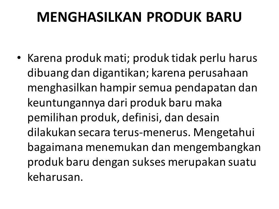 MENGHASILKAN PRODUK BARU • Karena produk mati; produk tidak perlu harus dibuang dan digantikan; karena perusahaan menghasilkan hampir semua pendapatan