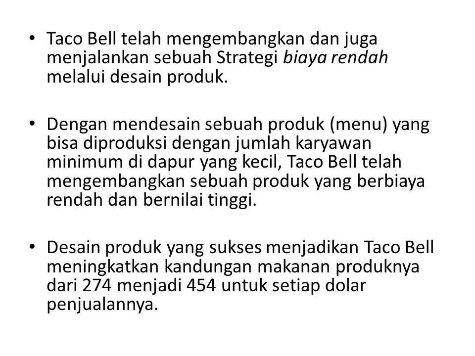 • Taco Bell telah mengembangkan dan juga menjalankan sebuah Strategi biaya rendah melalui desain produk. • Dengan mendesain sebuah produk (menu) yang