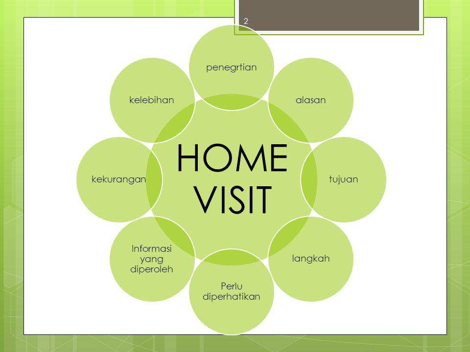 Pengertian Home Visit  Home visit adalah salah satu teknik pengumpulan data dengan cara mengunjungi rumah siswa untuk tujuan membantu menyelesaikan masalah yang sedang dihadapi konseli dan untuk melengkapi data siswa (Ws.