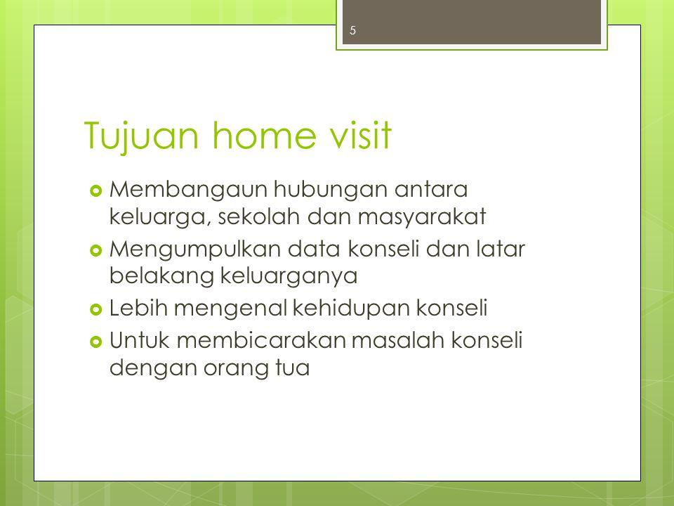 Langkah home visit  Persiapan  Pelaksanaan  Penutupan  Pembuatan laporan 6