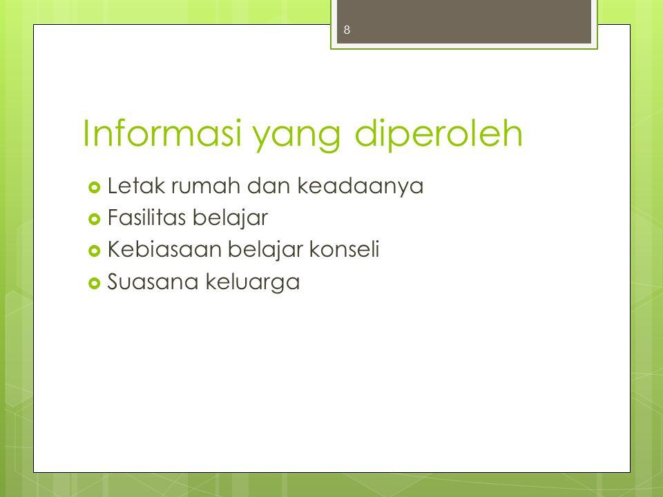 Informasi yang diperoleh  Letak rumah dan keadaanya  Fasilitas belajar  Kebiasaan belajar konseli  Suasana keluarga 8