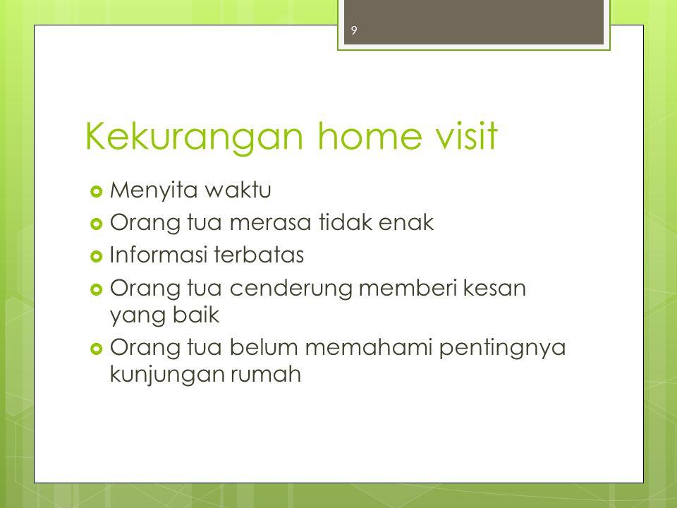 Kelebihan home visit  Mendapatkan data secara langsung  Dapat mencocokkan data yang sudah diperoleh  Memperoleh hubungan timbal balik 10