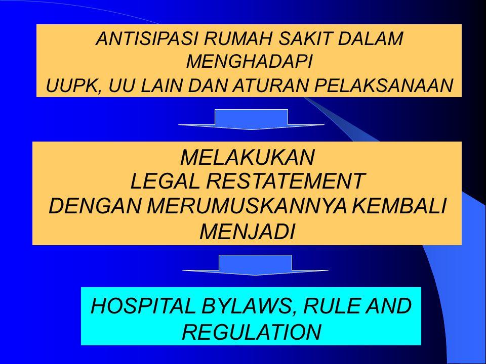 PENYELENGGARAAN RUMAH SAKIT TERIKAT OLEH :  UU Badan Usaha dan Badan Hukum.  UU Kesehatan.  UU Praktik Kedokteran.  UU Perlindungan Konsumen.  UU