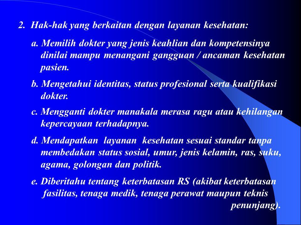 HAK-HAK PASIEN Hak-hak pasien yang dirawat di rumah sakit: 1.Hak-hak yang berkaitan dengan Peraturan RS: a. Mengakses serta mengetahui Peraturan RS ya